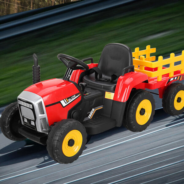 12v Battery-Powered Tractor with Trailer, Red TH17N0490 cj5