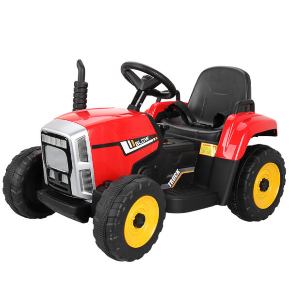 12v Battery-Powered Tractor with Trailer, Red TH17N0490