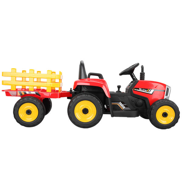 12v Battery-Powered Tractor with Trailer, Red TH17N04901