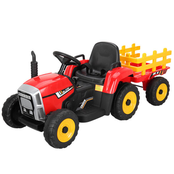 12v Battery-Powered Tractor with Trailer, Red TH17N04902