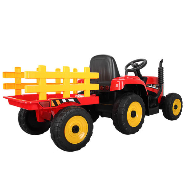 12v Battery-Powered Tractor with Trailer, Red TH17N04904