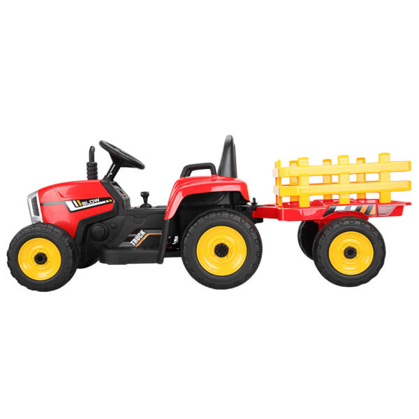 12v Battery-Powered Tractor with Trailer, Red TH17N04908