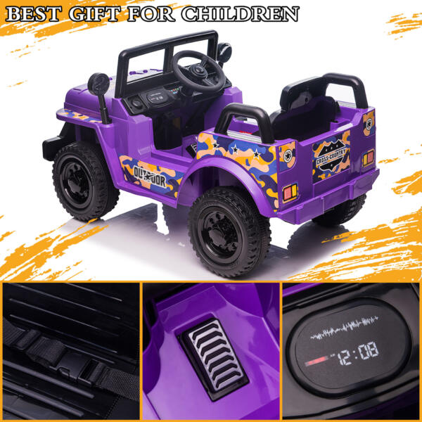 6V Realistic Toy Truck for Toddlers w/ Horn, Purple TH17P0869 zt1