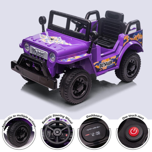 6V Realistic Toy Truck for Toddlers w/ Horn, Purple TH17P0869 zt4