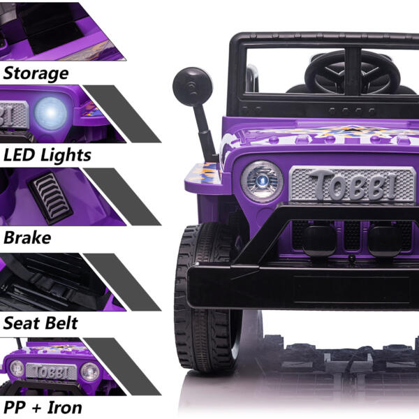 6V Realistic Toy Truck for Toddlers w/ Horn, Purple TH17P0869 zt5