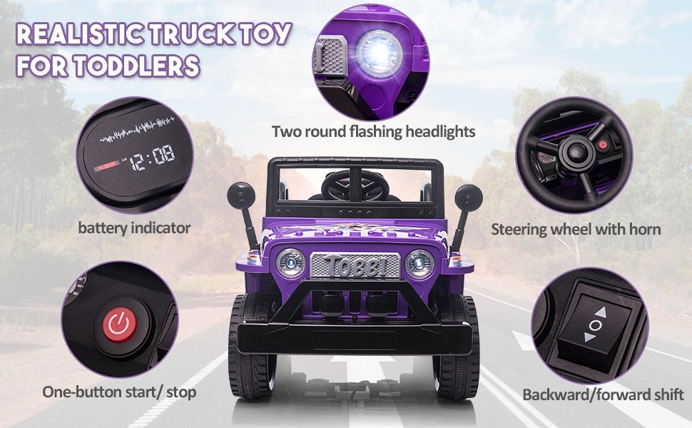 6V Realistic Toy Truck for Toddlers w/ Horn, Purple TH17P0869AHattie970X6003