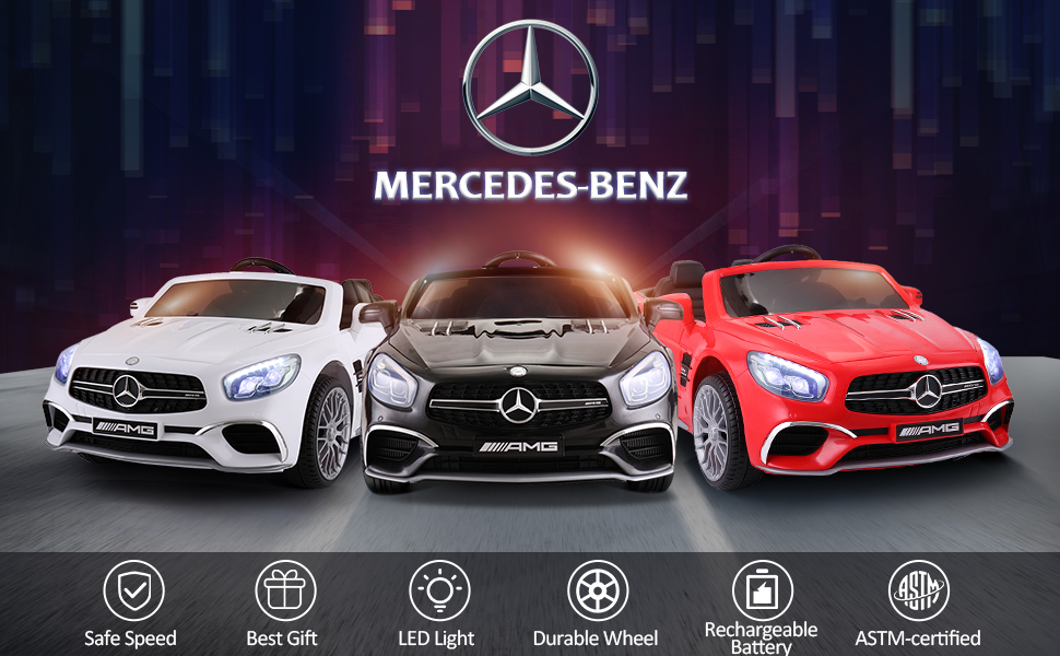 12V Mercedes Benz Licensed Kids Ride On Car with Remote Control, Black TH17R0294 2