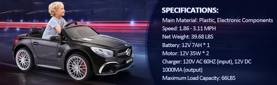 12V Mercedes Benz Licensed Kids Ride On Car with Remote Control, Black TH17R0294 3