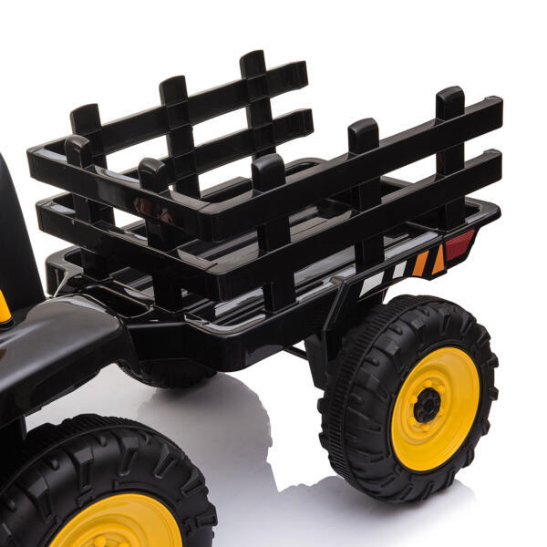 12v Battery-Powered Tractor with Trailer, Black TH17R0492 15
