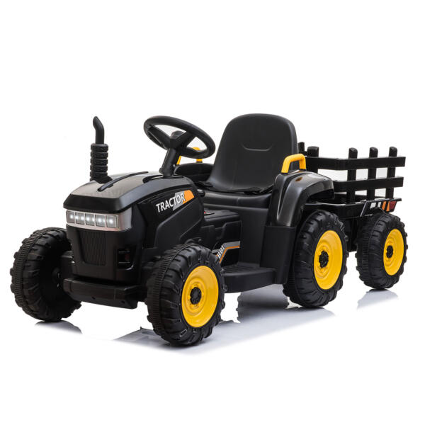 12v Battery-Powered Tractor with Trailer, Black TH17R0492 2