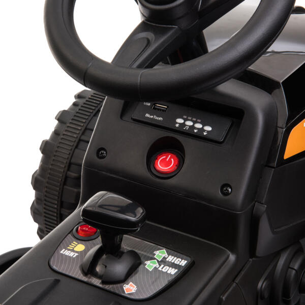 12v Battery-Powered Tractor with Trailer, Black TH17R0492 20