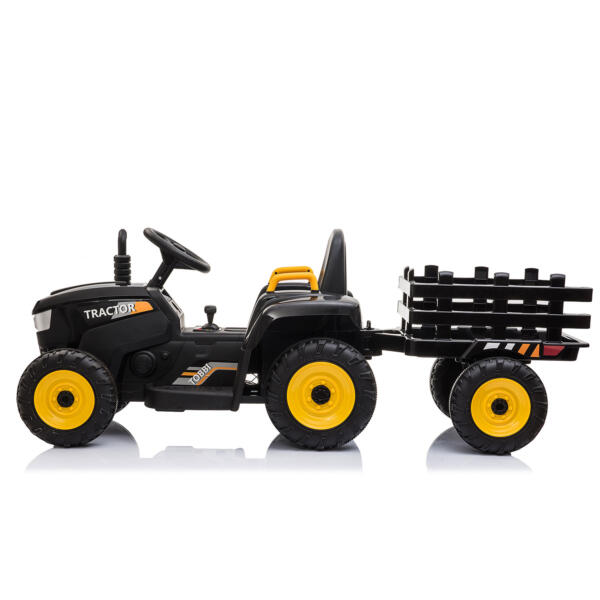 12v Battery-Powered Tractor with Trailer, Black TH17R0492 4