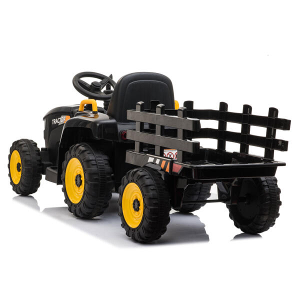 12v Battery-Powered Tractor with Trailer, Black TH17R0492 6