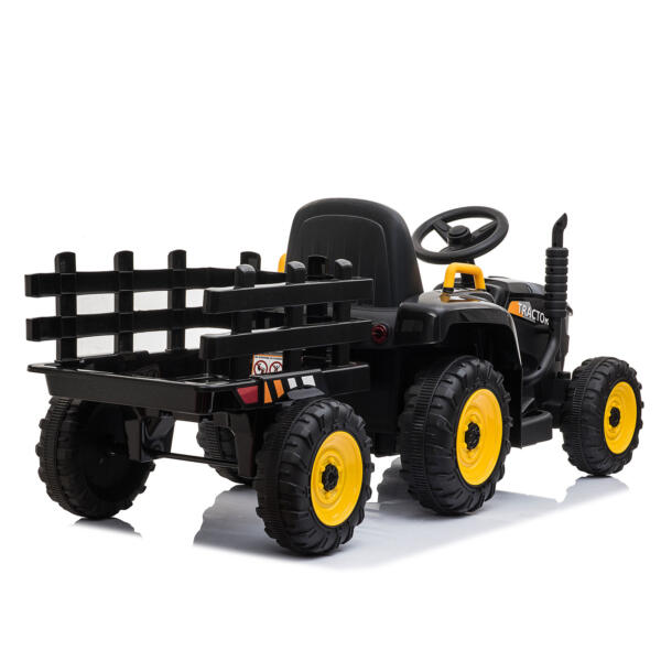 12v Battery-Powered Tractor with Trailer, Black TH17R0492 8