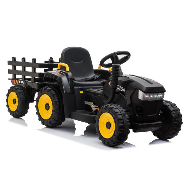 12v Battery-Powered Tractor with Trailer, Black TH17R0492 9