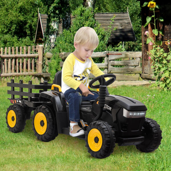 12v Battery-Powered Tractor with Trailer, Black TH17R0492 cj2