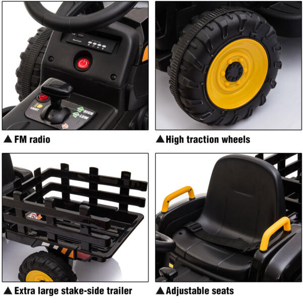 12v Battery-Powered Tractor with Trailer, Black TH17R0492 zt1