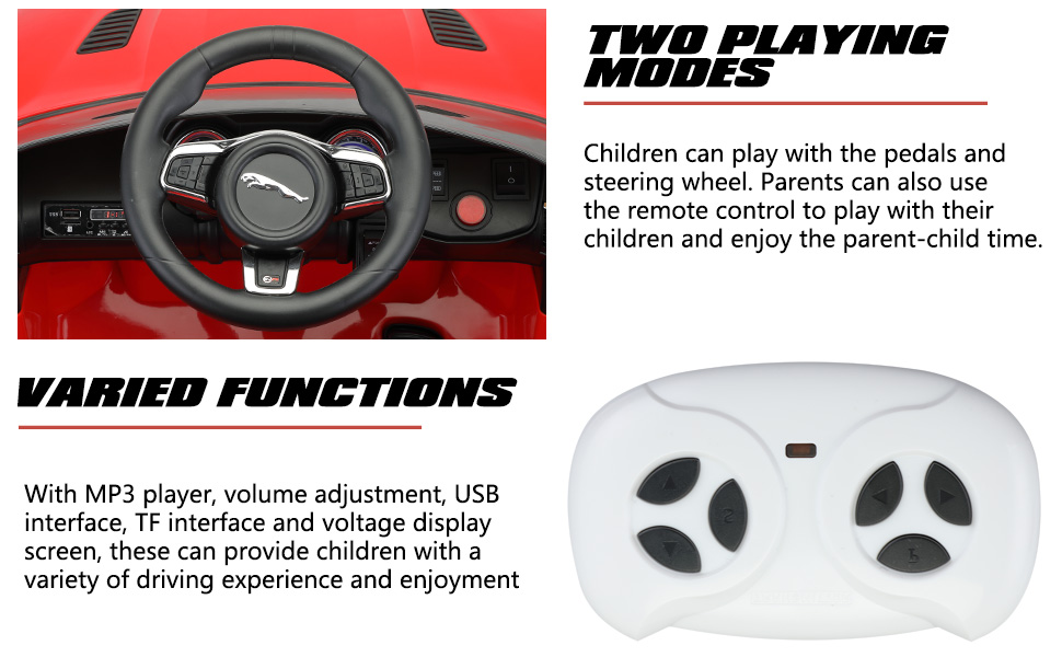Jaguar F-Type SVR Kids Electric Ride on Car Toy with Dual Motor, Red TH17R0654 3