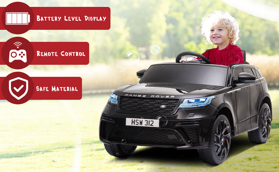 12V Land Rover Licensed Electric Kids Ride On Car with Remote Control, Black TH17R0816 2