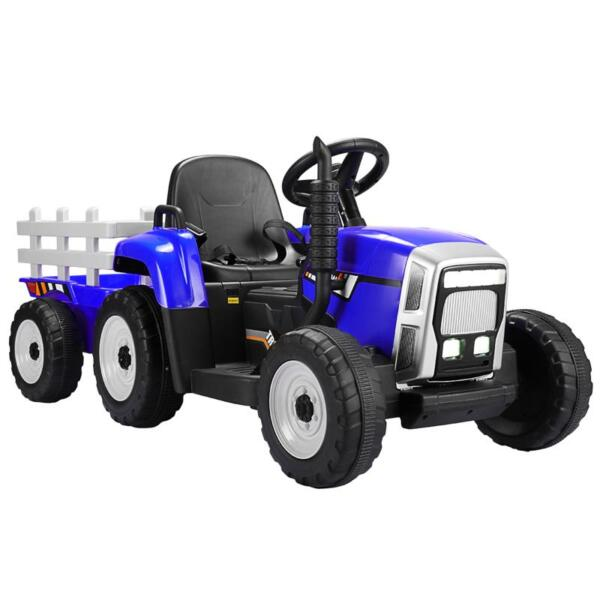 12V Electric Kids Ride-On Tractor with Trailer, Blue TH17S04930