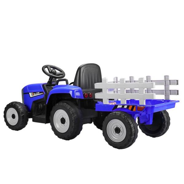 12V Electric Kids Ride-On Tractor with Trailer, Blue TH17S04934