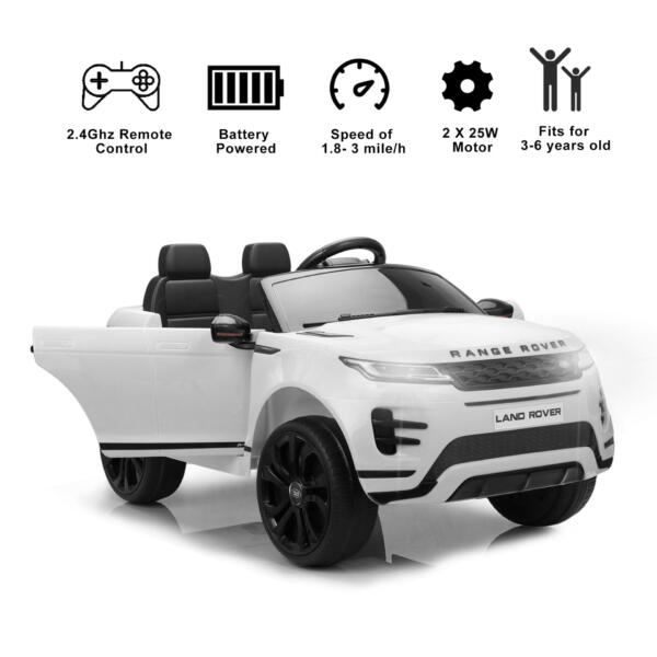 12V Land Rover Kids Power Wheels Ride On Toys With Remote, White TH17T0620 zt52