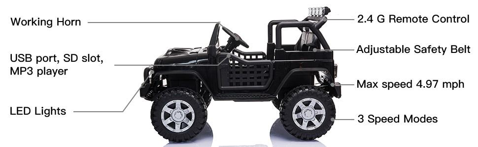 12V Electric Ride On Truck for Kids with Remote Control, Black TH17T0710 2
