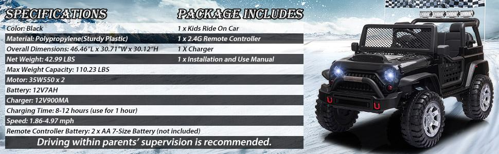 12V Electric Ride On Truck for Kids with Remote Control, Black TH17T0710 6