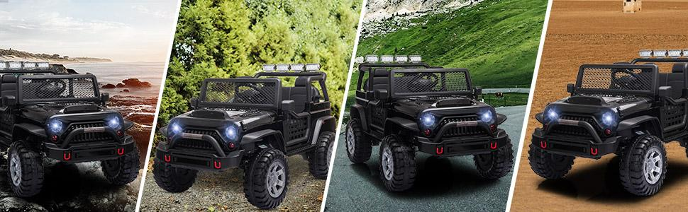 12V Electric Ride On Truck for Kids with Remote Control, Black TH17T0710 7