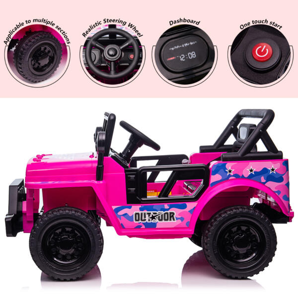 12V Kid's Ride On Truck Off-Road Vehicle W/ Double Doors TH17T0872 zt2