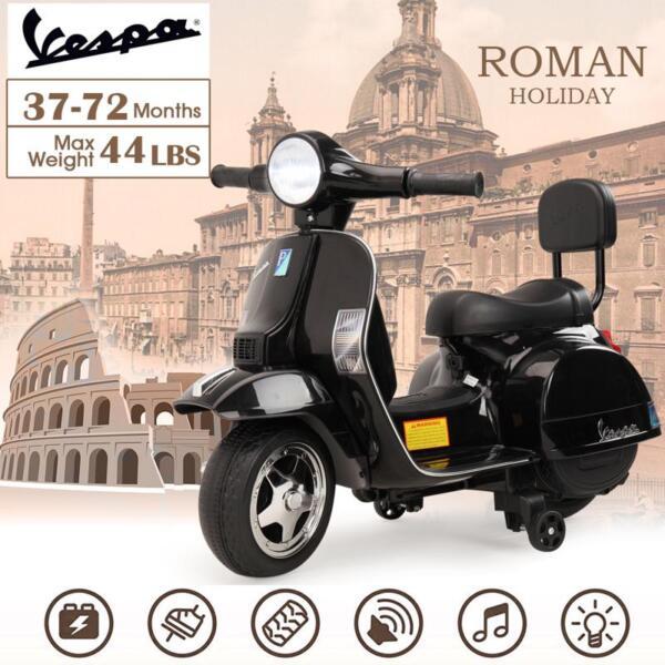 Vespa Licensed 6V Kids Electric Motorcycle, Black TH17U047716