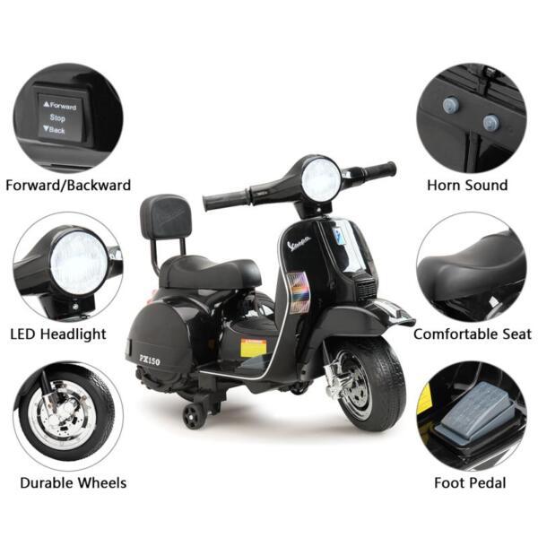 Vespa Licensed 6V Kids Electric Motorcycle, Black TH17U047726 1