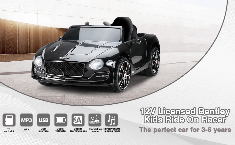 12V Bentley Licensed Electric Kids Ride On Car with Remote Control, Black TH17U0567 1