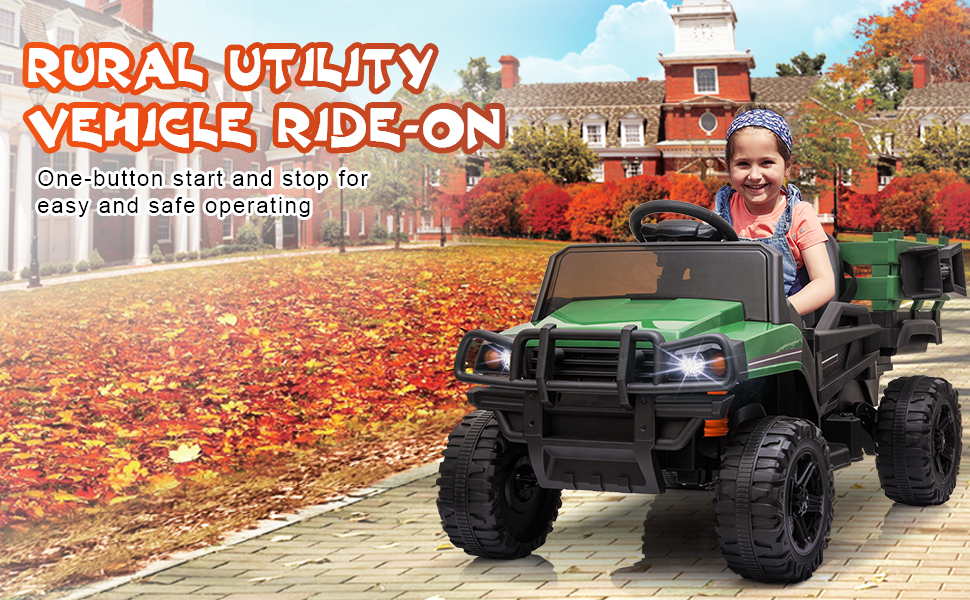 12V Battery Powered Kids Ride on Tractor with Remote Control, Army Green TH17U0603 2