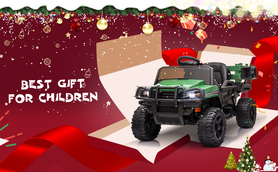 12V Battery Powered Kids Ride on Tractor with Remote Control, Army Green TH17U0603 9