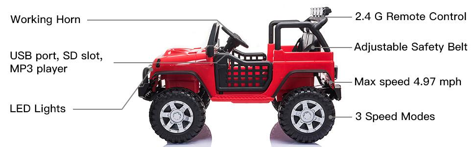 12V Extra Large Electric Ride On Truck for Kids with Remote Control, Red TH17U0711 2