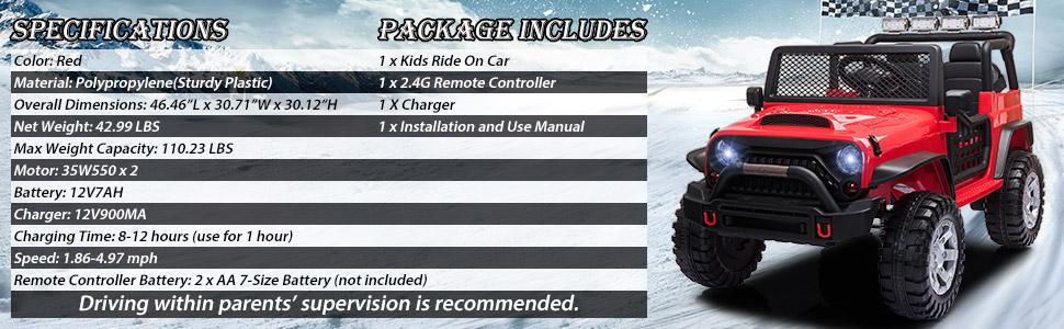 12V Extra Large Electric Ride On Truck for Kids with Remote Control, Red TH17U0711 6