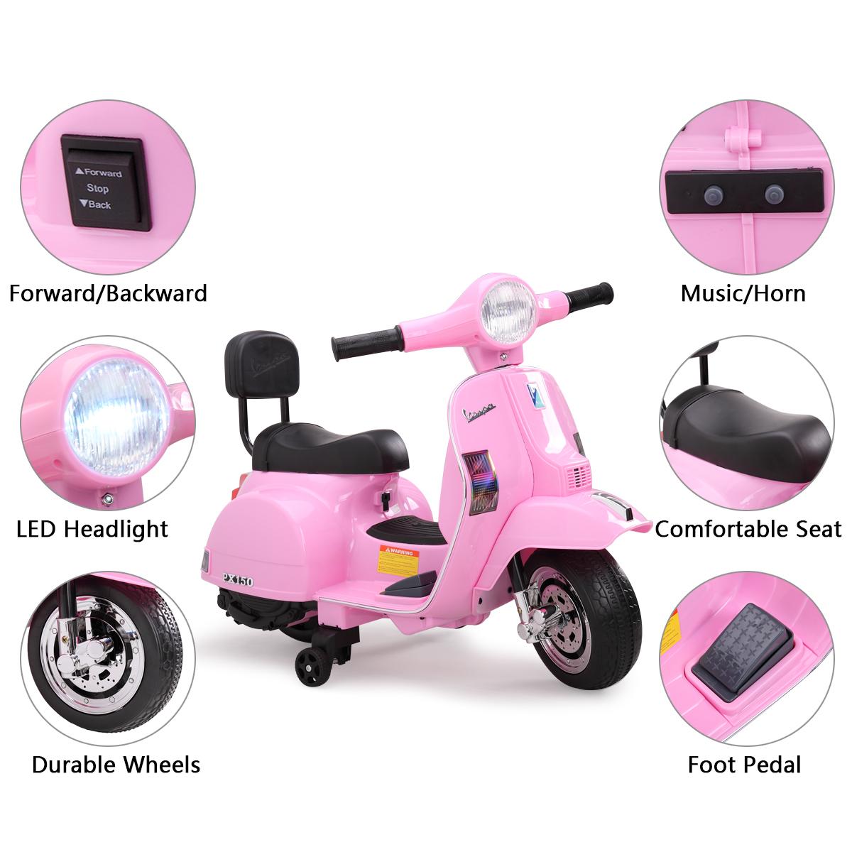 Vespa Licensed 6V Kids Motorcycle Bike, Horn TH17W0478 zt3