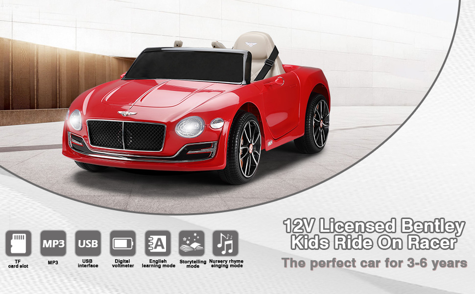 12V Bentley Licensed Electric Kids Ride On Racer Cars Toy with Remote Control, Red TH17W0568 1 1