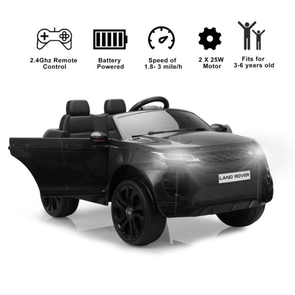 12V Land Rover Ride-on SUV Car for Kids, Black TH17W0622 zt50