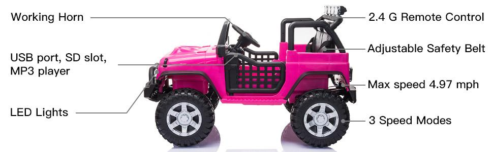 12V Electric Vehicles Ride On Truck for Kids with Remote Control, Rose Red TH17W0712 2