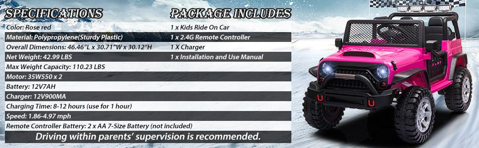 12V Electric Vehicles Ride On Truck for Kids with Remote Control, Rose Red TH17W0712 6