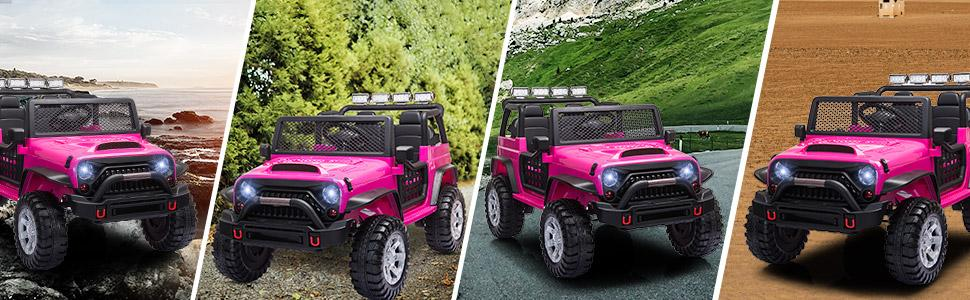 12V Electric Vehicles Ride On Truck for Kids with Remote Control, Rose Red TH17W0712 7