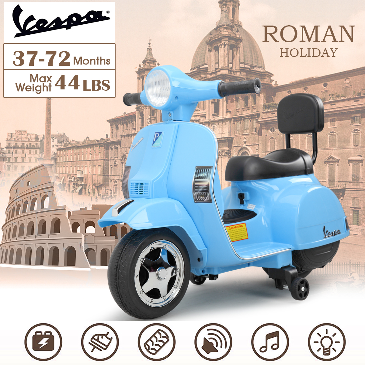 Vespa 6V Kids Ride-on Toys for 3-6 Year Old TH17X0479 cj2
