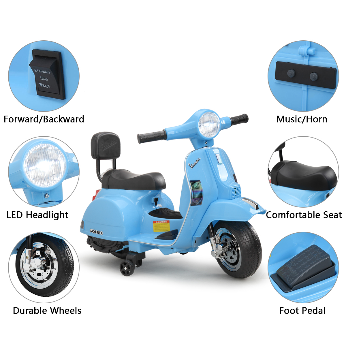 Vespa 6V Kids Ride-on Toys for 3-6 Year Old TH17X0479 zt1