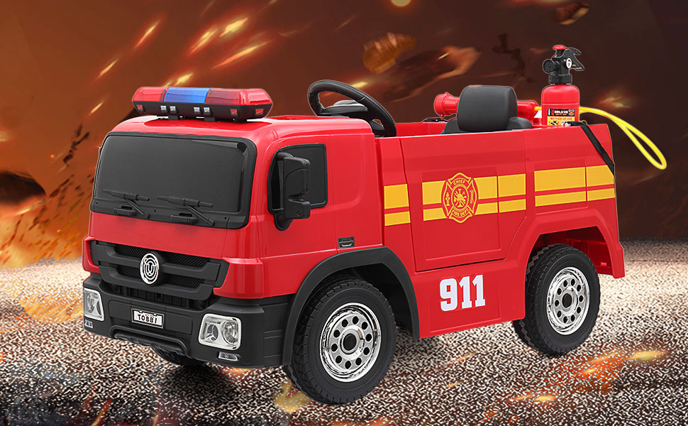 12V Kids Ride on Toys Fire Truck Real Driving Experience with Remote Control, Red TH17Y0372 2