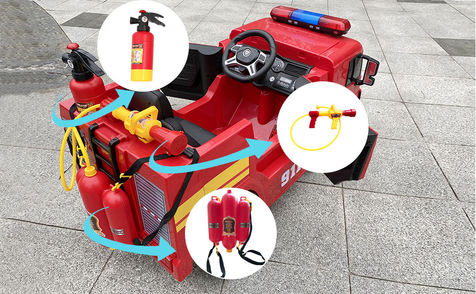 12V Kids Ride on Toys Fire Truck Real Driving Experience with Remote Control, Red TH17Y0372 9