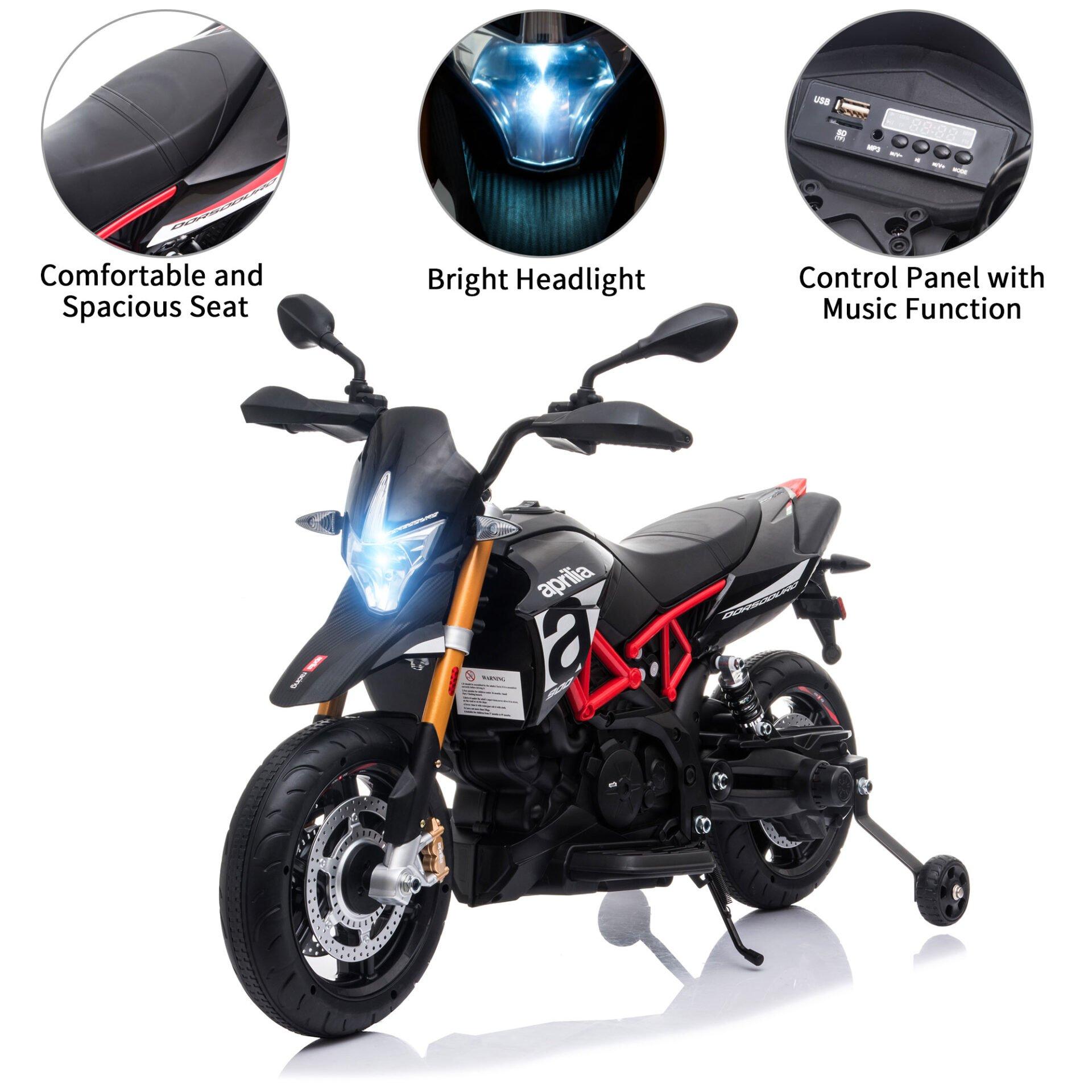 Aprilia Licensed 12V Kids Toy Motorcycle, Black TH17Y0660 zt1