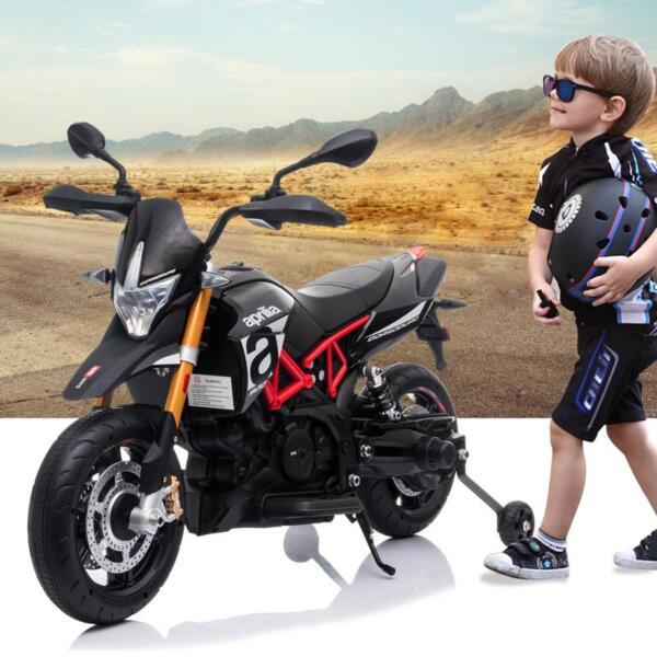 Aprilia Licensed 12V Kids Ride-On Motorcycle, Black TH17Y06608 1