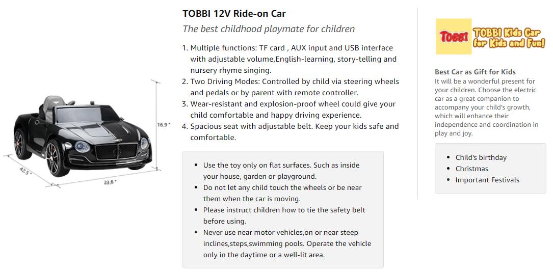 12V Bentley Licensed Electric Kids Ride On Car with Remote Control, Black adadasdadasda